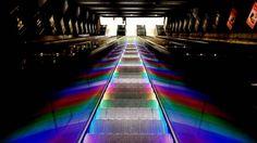 Somewhere over the rainbow.... #underground_enthusiasts #metro #underground #tbana #symetric #led #tekniskahögskolan #escelator