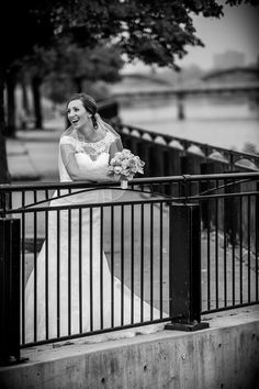 Laughing bride, happy, outdoor, Black and white, trees, Lace dress, lace covered sweetheart neckline, A line wedding dress, Cambridge Mill, Cambridge, Ontario, Canada wedding photography experts | Anne Edgar Photography