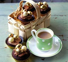 Chocolate fudge Easter cakes. A chocolatey tea-time treat that kids will love to help out with