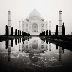 zwart-wit-foto van India