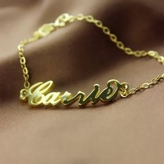 Gold Carrie Style Name Bracelet