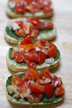 Pesto Bruschetta ~ a delicious & healthy summer appetizer recipe with fresh ripe tomatoes, onions, and homemade pesto | 5DollarDinners.com