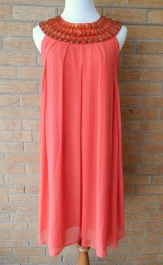 Excellent! Semi-Formal Salmon Orange Flowy Sleeveless Jeweled Sundress Sz. M/6 #Unbranded #Sundress #Casual