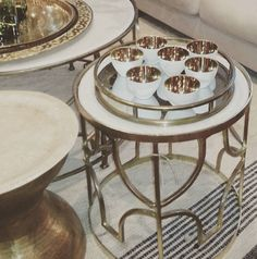 Gold love ... New in store this gorgeous range of coffee and side tables... fi xx @bisque__ @rubystartraders #gold, #sidetable #coffeetable #interior_design #interiorstyling #interiors #homedecor #candleholder #rugs #interiordecoration #luxe #artdeco #saltwatersorrento #saltwateronline