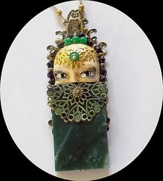 Peek a boo. Emerald agate crystal and polymer by WILDTHINGSHOP