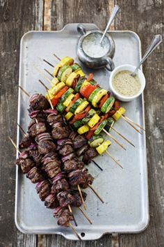 Grilled Lamb and Vegetable Kebabs Kabob Recipes, Grilling Recipes, Cooking Recipes, Healthy Recipes, Healthy Meals, Beef Recipes, Vegetable Kebabs, Grilled Lamb, Gourmet