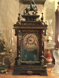 Antique Japanese wood and Cast Iron Clock 1870's.
