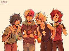 Deku, Todoroki, Bokugou and Kirishima (they're on a double date) Boku No Hero Academia, My Hero Academia Memes, Hero Academia Characters, My Hero Academia Manga, Anime Characters, Fictional Characters, Manga Anime, Anime Art, A Silent Voice