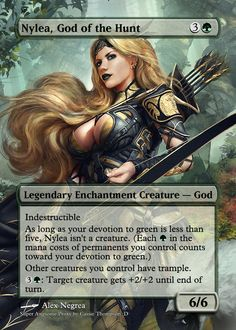 Nylea, God of the Hunt by on DeviantArt Fantasy Female Warrior, Fantasy Weapons, Mtg Memes, Magic Decorations, League Of Angels, Fantasy World Map, Mtg Altered Art, Fantasy Wizard, Mtg Art