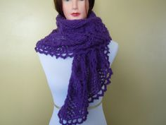 Light Hand knitted lace shawl Amethyst Color Soft by NKnitting, $44.00