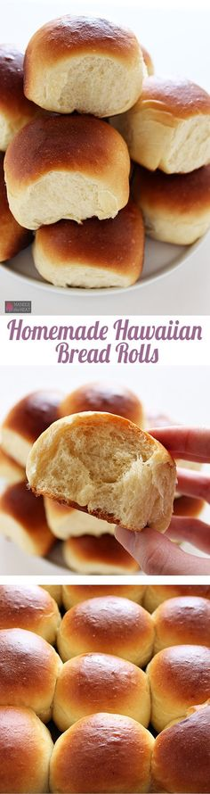 Homemade Hawaiian Bread Rolls - Perfectly sweet, soft, fluffy, and golden brown. You're going to love how easy these are to make!