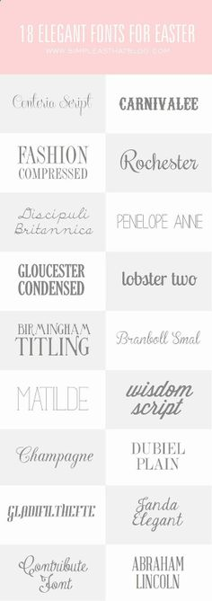 18 Elegant Fonts for Easter.dont know y i love fonts. Graphic Design Fonts, Web Design, Typography Design, Fancy Fonts, Cool Fonts, Simple Fonts, Elegant Fonts Free, Pretty Fonts, Beautiful Fonts