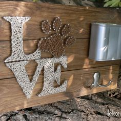 Love with dog paw string art