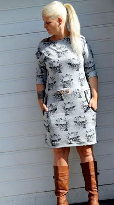 *Kleid Pia Damen * *Größen: 32 bis 58* Dieser Schnitt beinhaltet die Anleitung und die Schnittteile, um dir ein lässiges Kleid mit leicht überschnittenen Ärmeln aus Sweat oder Jersey zu nähen,...