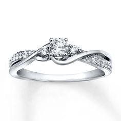 Diamond Engagement Ring 1/3 ct tw Round-cut 10K White Gold - REALLY pretty!!!