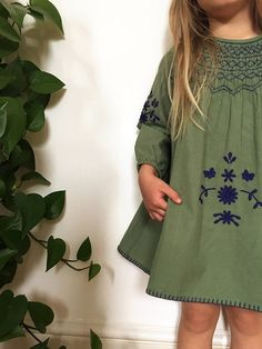 Image of Girls - 'Maren' Smock - Fern Green