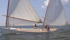 One man New Haven Sharpie, a sailing workboat for oyster tonging.