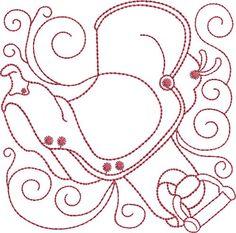 Design Whiz Embroidery Design: Redwork Sadle 4.90 inches H x 4.90 inches W