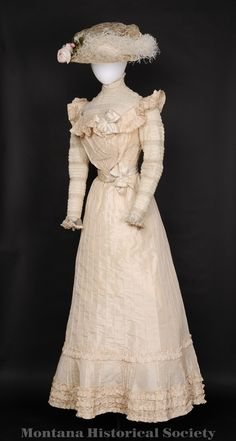 1901 wedding dress worn by Mrs. Frank (Emma) Mares at her wedding, April 21, 1901. With matching hat.