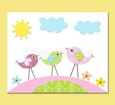 Colorful love birds Nursery Art  nursery room by SugarInspire, $14.95