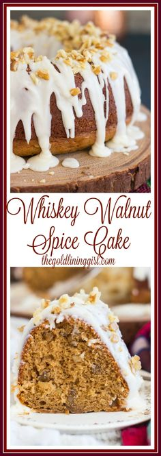 Doctored up spice cake, infused with whiskey, topped with walnuts and a whiskey glaze. This Whiskey Walnut Spice Cake is boozy and festive, and as easy as it is pretty. Spice Cake Recipes, Baking Recipes, Dessert Recipes, Dessert Ideas, Nut Recipes, Homemade Desserts, Sweet Recipes, Easy Recipes, Bunt Cakes