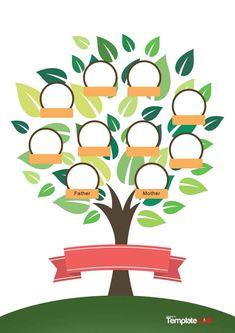Family Tree For Kids, Trees For Kids, Family Tree With Pictures, Family Trees, Family Tree Free, Family Tree Poster, Family Tree Chart, Genogram Template, Orla Infantil