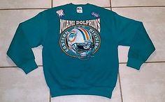 NWOT PRO PLAYER Miami Dolphins 1995 Crew Neck Sweater Men's Medium