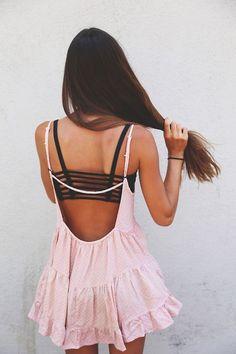 #street #style backless pink dress @wachabuy