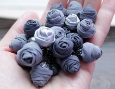 charm bracelet gift idea textile grey roses from a от Bejawuo