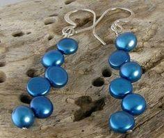 Sea Blue Freshwater Pearl Earrings