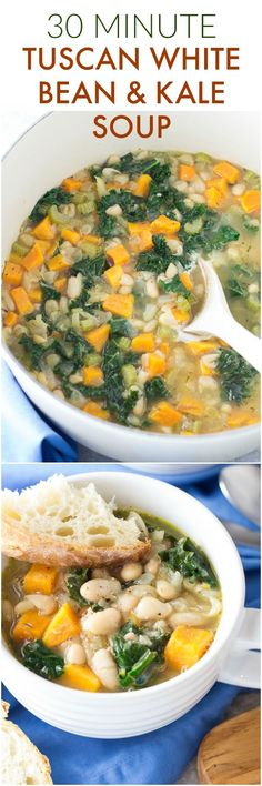 This healthy 30 Minute Tuscan White Bean and Kale Soup is vegetarian, vegan, and so easy to make! It's a warm and comforting dinner that reheats wonderfully for lunch!