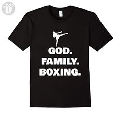 Mens God Family Boxing Kickboxing Funny Shirt Gift Medium Black - Funny shirts (*Amazon Partner-Link)