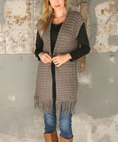 Loving this Charcoal Fringe Open Vest on #zulily! #zulilyfinds