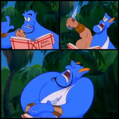 """When Genie asks Aladdin for what he wishes for, Genie pulls out a book with a bunch of magic spells. While draped in a toga, he stabs himself saying, """"Et tu Brute"""", referencing the play, Julius Caesar."""