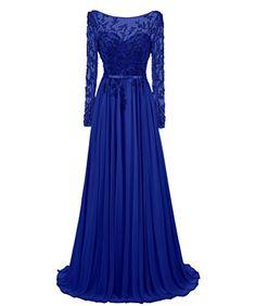Dresstells® Long Prom Dress Jewel Sleeved Chiffon Dress B...