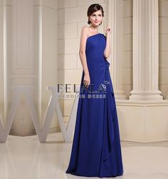 Spring/Summer/Fall Ladies&Simple&Formal Cheap Royal Blue A Line/Princess Floor Length Chiffon One Shoulder Long Prom Dress With Ruche