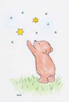 Childrens art Bear watercolour painting PRINT by heartsandballoons, $12.00