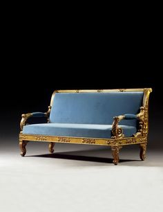 A GERMAN CARVED GILTWOOD AND GESSO SOFA, IN THE MANNER OF SCHINKEL CIRCA 1830. Furniture Styles, Sofa Furniture, Antique Furniture, Luxury Home Furniture, Modern Furniture, Biedermeier Sofa, Neoclassical Interior, French Sofa, Settee Sofa
