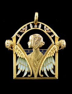 """An 18ct gold enamel """"plique a jour"""" and diamond modernist pendant signed MASRIERA AND BROTHERS, Circa 1911."""