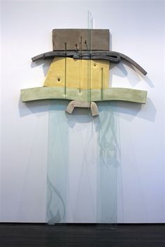 "Dave Hardy,""Untitled,"" 2013, glass, cement, polyurethane foam, paint, tape, pencils, marker, penny, pretzel, 120"" x 84"" x 18"""