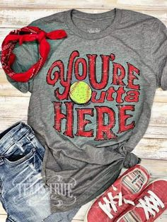Softball - Outta Here Tee by Texas True Threads – Horse Creek BoutiqueYou can find Softball shirts and more on our website. Senior Softball, Softball Mom Shirts, Softball Crafts, Girls Softball, Softball Players, Fastpitch Softball, Baseball Shirts, Sports Shirts, Softball Clothes