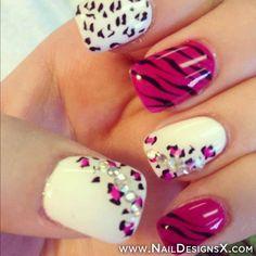 mix pink white nail art » Nail Designs & Nail Art