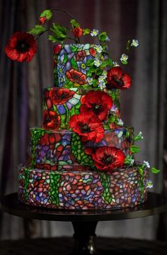 Stained glass fairytale wedding cake - click on the image to see our full gallery of how you can include more Disney in your wedding.