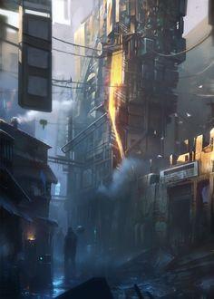 ArtStation - Cyberpunk alley, Piotr Krezelewski