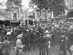 Capt. LaBelle's Circus Side Show at the 1918 Indiana State Fair attracted a large crowd of curiosity seekers, including a handful of soldiers.