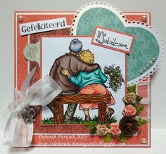 "anniversary card featuring ""Tom & Tilly"" from Mo Manning. Handmade by Deborah Deruyck"