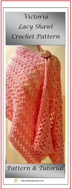 This Victoria Lacy Shawl Crochet Pattern only has two rows. Free crochet shawl wrap pattern.