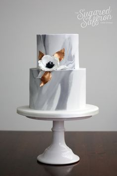 Small Marble wedding cake by Sugared Saffron Cake Studio in London
