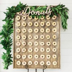 This Donuts sign is a beautiful piece for your wedding or party donut display! Donut Bar Wedding, Wedding Reception Food, Wedding Desserts, Wedding Catering, Wedding Table, Wedding Decorations, Catering Logo, Wedding Cakes, Hanging Signs