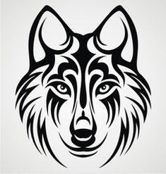Tribal wolf head vector